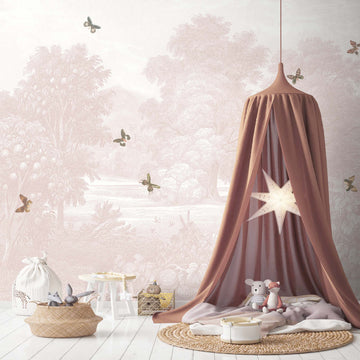 Land of Milk & Honey Butterflies Blush Pink Wall Mural