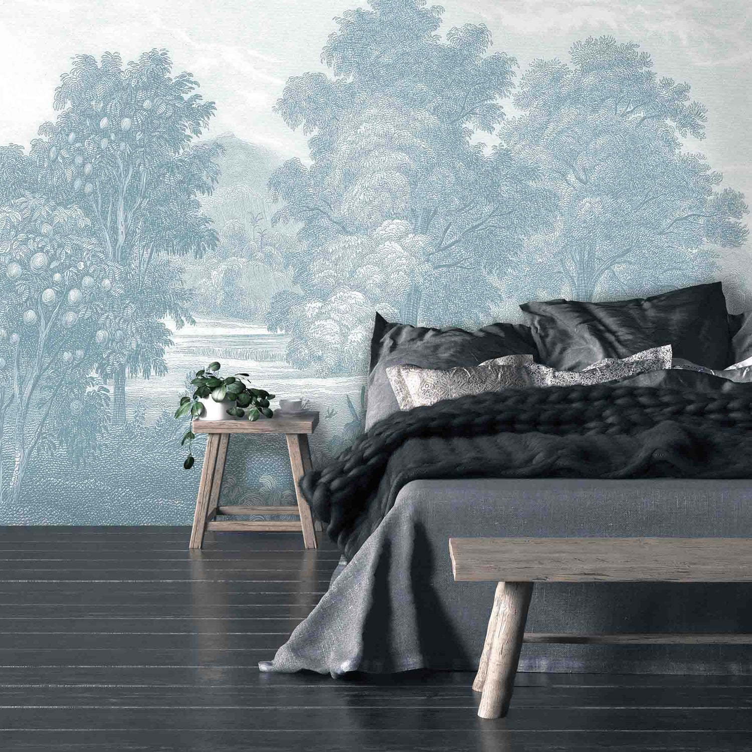 Land of Milk & Honey Blue Wallpaper Wall Mural by Woodchip & Magnolia