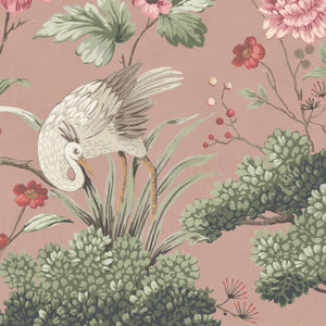 Crane Bird in Vintage Pink Wallpaper by Woodchip & Magnolia