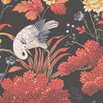 Crane Bird in Japanese Red Wallpaper