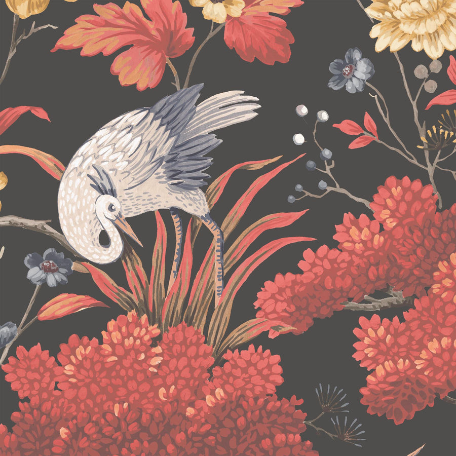 Crane Bird in Japanese Red Wallpaper By Woodchip & Magnolia