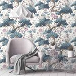 Crane Bird in Japanese Blue Wallpaper