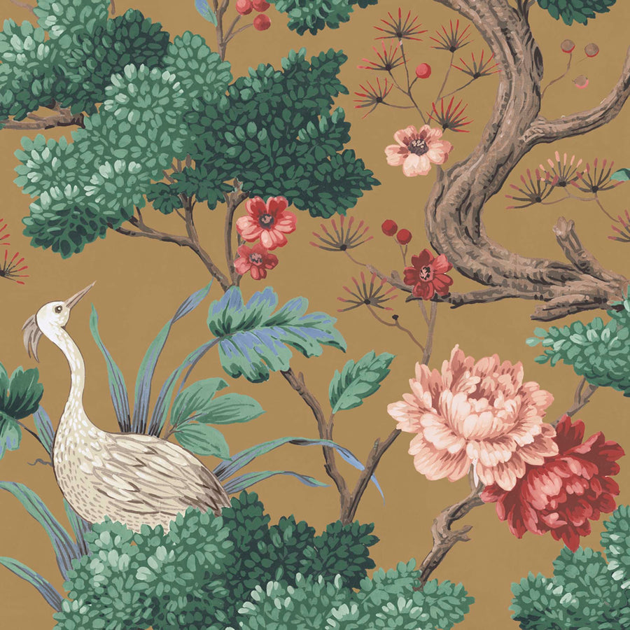 Crane Bird in Mustard Wallpaper By Woodchip & Magnolia