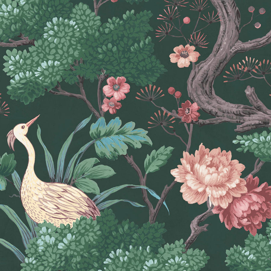 Crane Bird in Forest Green Wallpaper By Woodchip & Magnolia