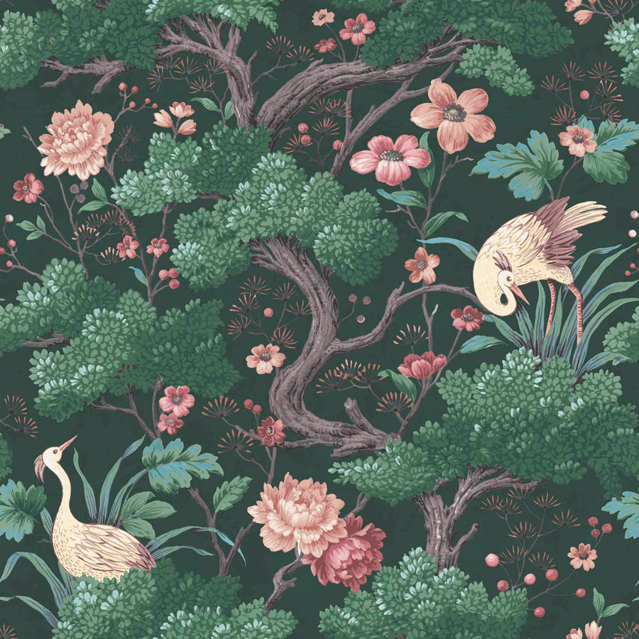 Crane Bird Forest Green Wallpaper