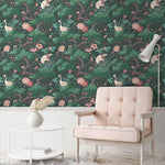 Crane Bird in Forest Green Wallpaper