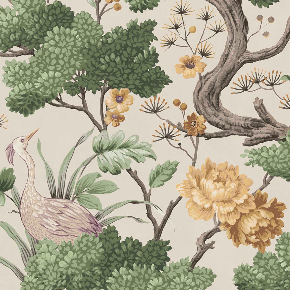Crane Bird in Buttercup Yellow & Cream Wallpaper By Woodchip & Magnolia