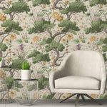 Crane Bird in Buttercup Yellow & Cream Wallpaper