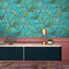 Rivington Chinoiserie Botanical in Teal Wallpaper