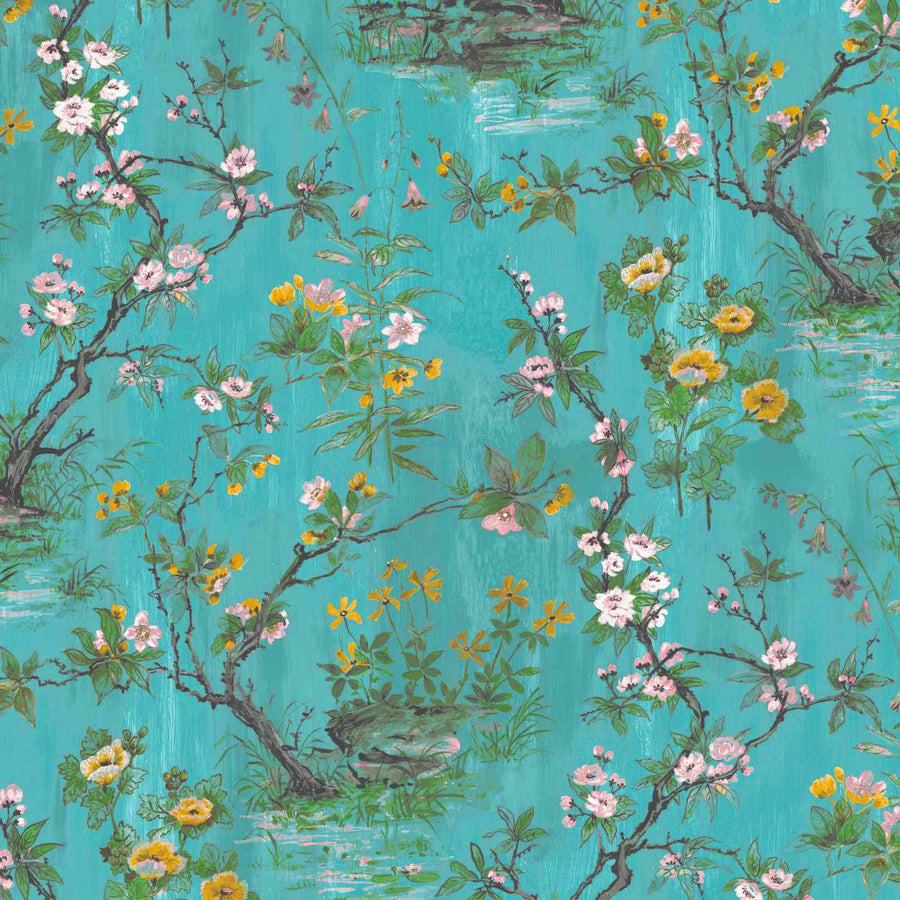 Rivington in Teal Wallpaper