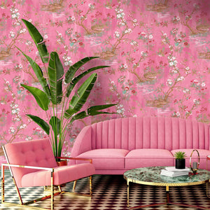 Rivington Chinoiserie Botanical Pink Wallpaper
