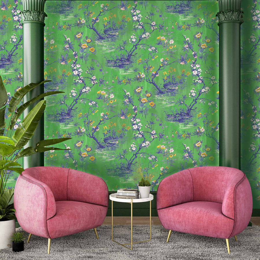 Rivington Chinoiserie Botanical Lush Green Wallpaper