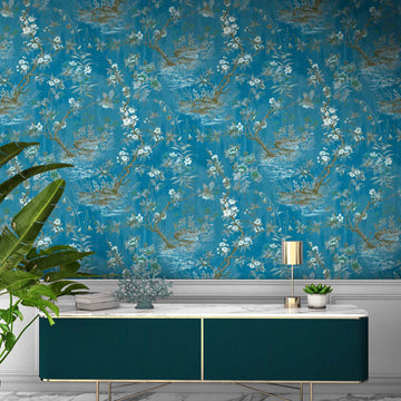 Rivington Chinoiserie Botanical China Blue Wallpaper
