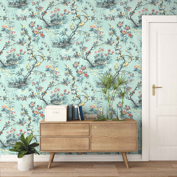 Rivington in Neo Mint Wallpaper