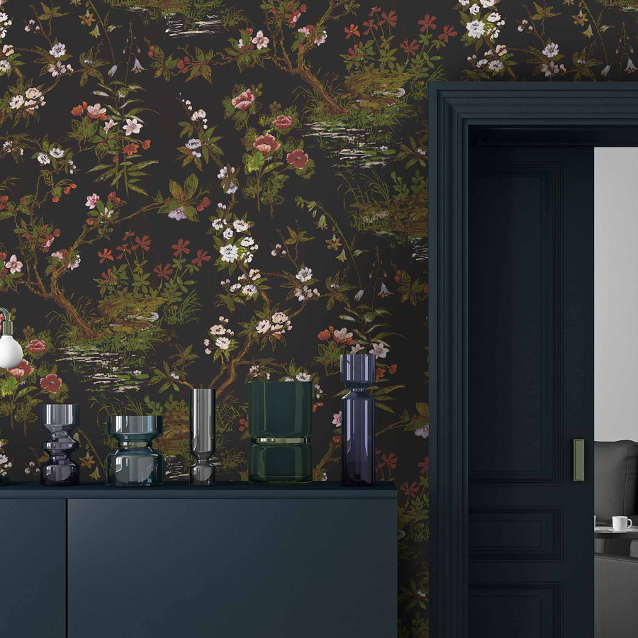 Rivington in Black Botanical Wallpaper
