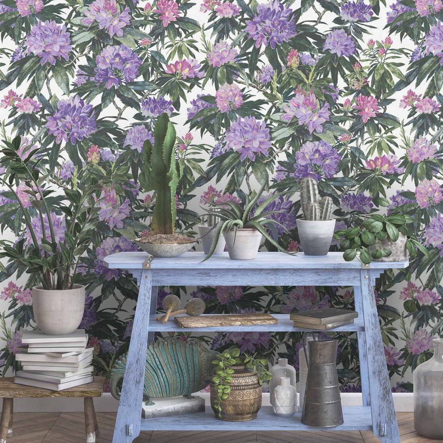 Rhododendron Purple & White Floral Wallpaper