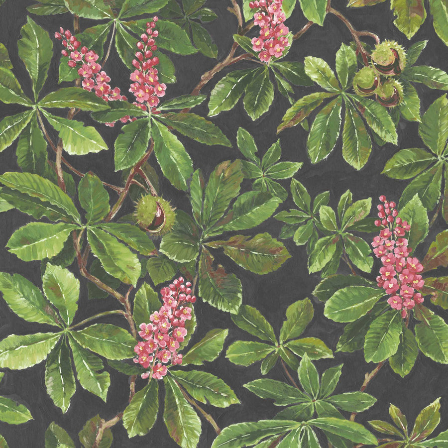 Horse Chestnut Pink/Green Wallpaper