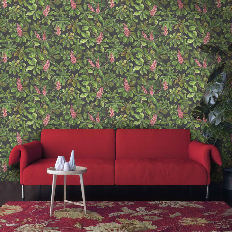 Horse Chestnut Pink/Green Floral Wallpaper