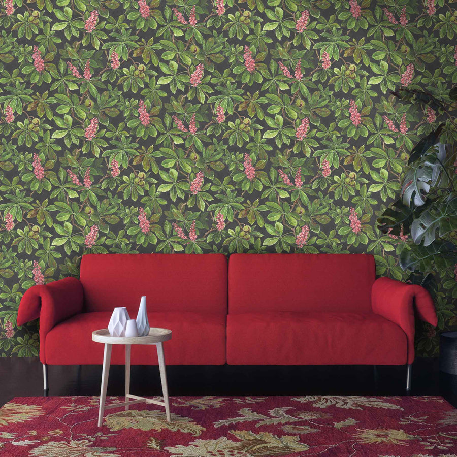 Horse Chestnut Pink/Green Floral Wallpaper by Woodchip & Magnolia