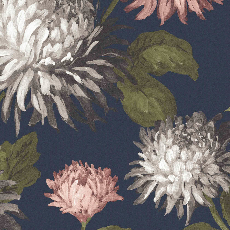 October Bloom Floral Wallpaper Navy