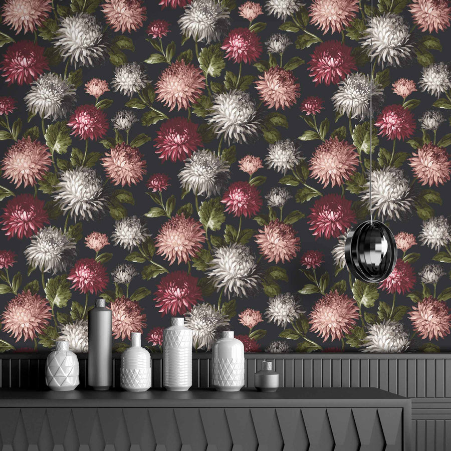October Bloom Floral Wallpaper Charcoal
