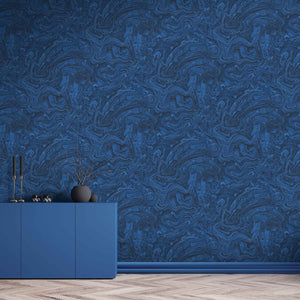 Flow Marbled Deep Ocean Blue Wallpaper By Woodchip & Magnolia