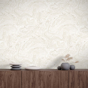 Flow Marbled effect Wallpaper in Stone Wallpaper By Woodchip & Magnolia