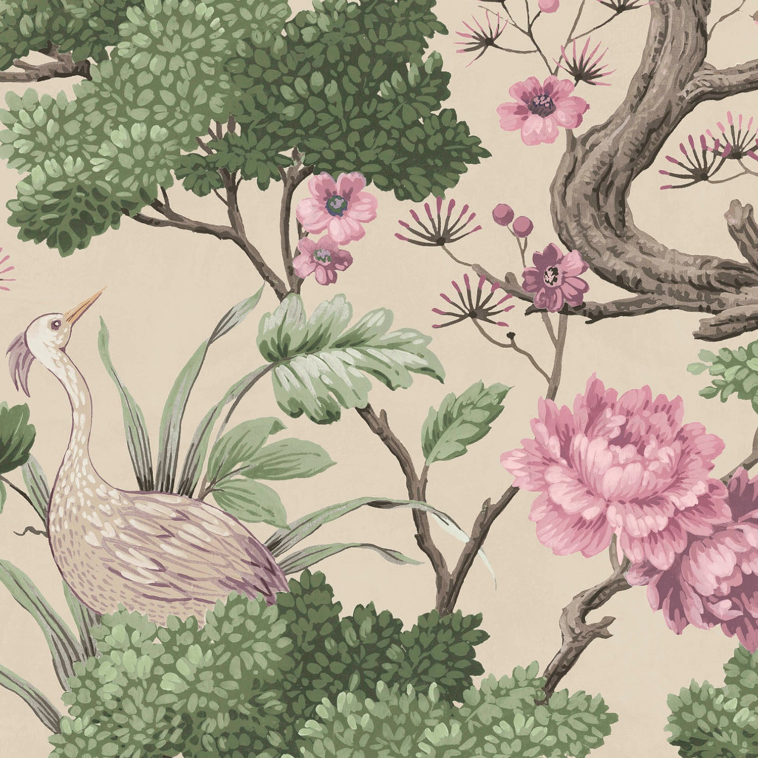 Crane Bird in Rose Pink & Cream Wallpaper By Woodchip & Magnolia