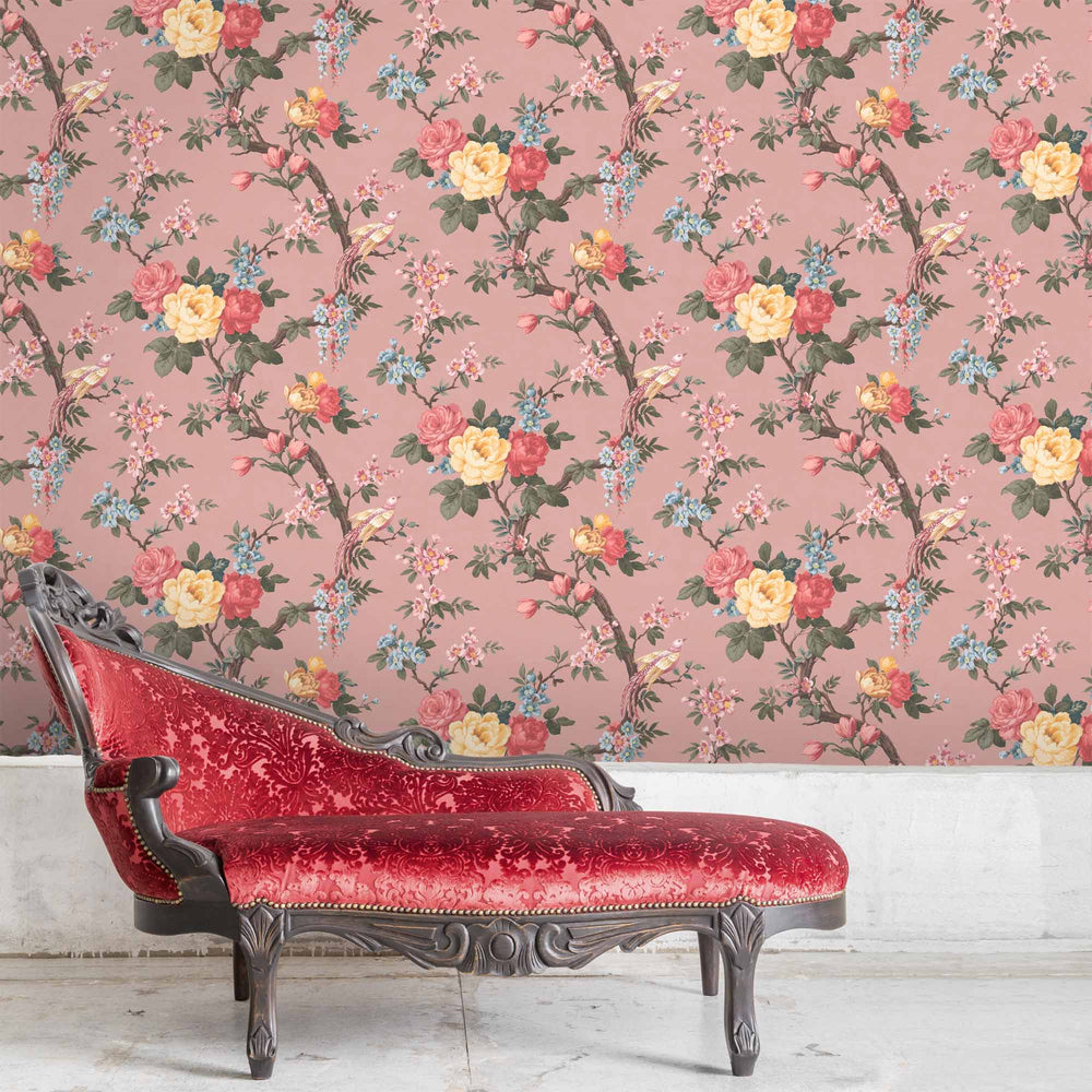 Dawn Chorus in Salmon Pink Wallpaper