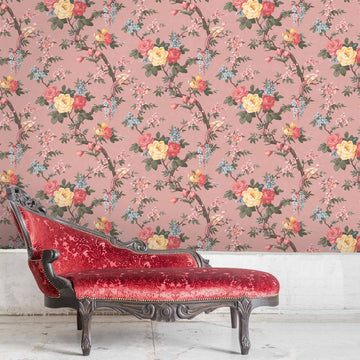 Dawn Chorus in Salmon Pink Wallpaper By Woodchip & Magnolia
