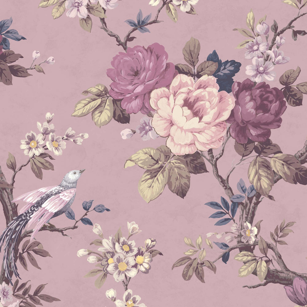 Dawn Chorus in Smokey Heather Wallpaper By Woodchip & Magnolia