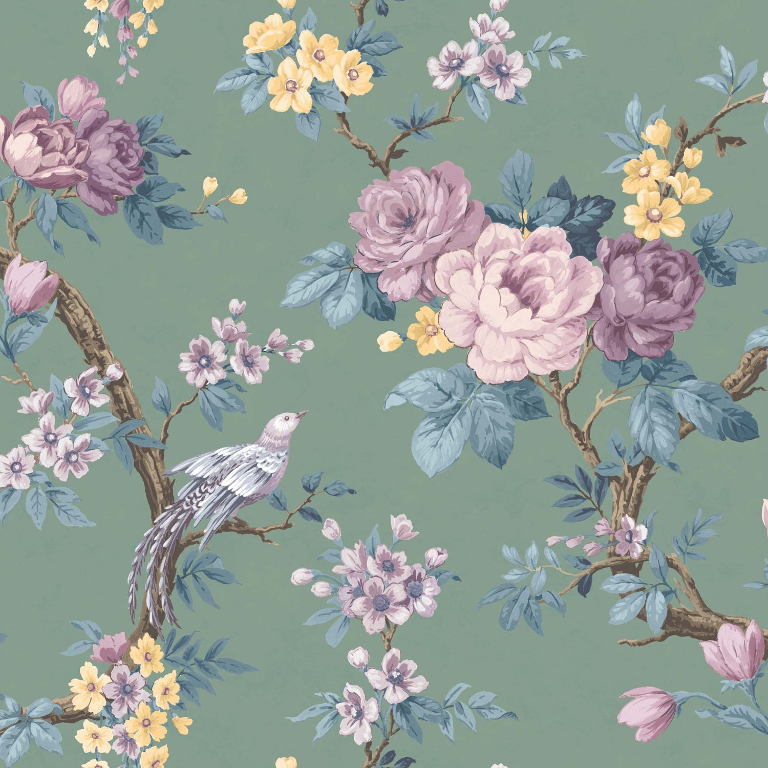 Dawn Chorus in Forest Green Wallpaper By Woodchip & Magnolia