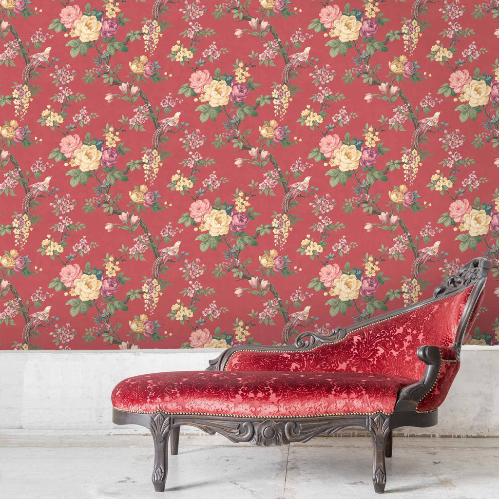 Dawn Chorus in Rouge Red Wallpaper By Woodchip & Magnolia