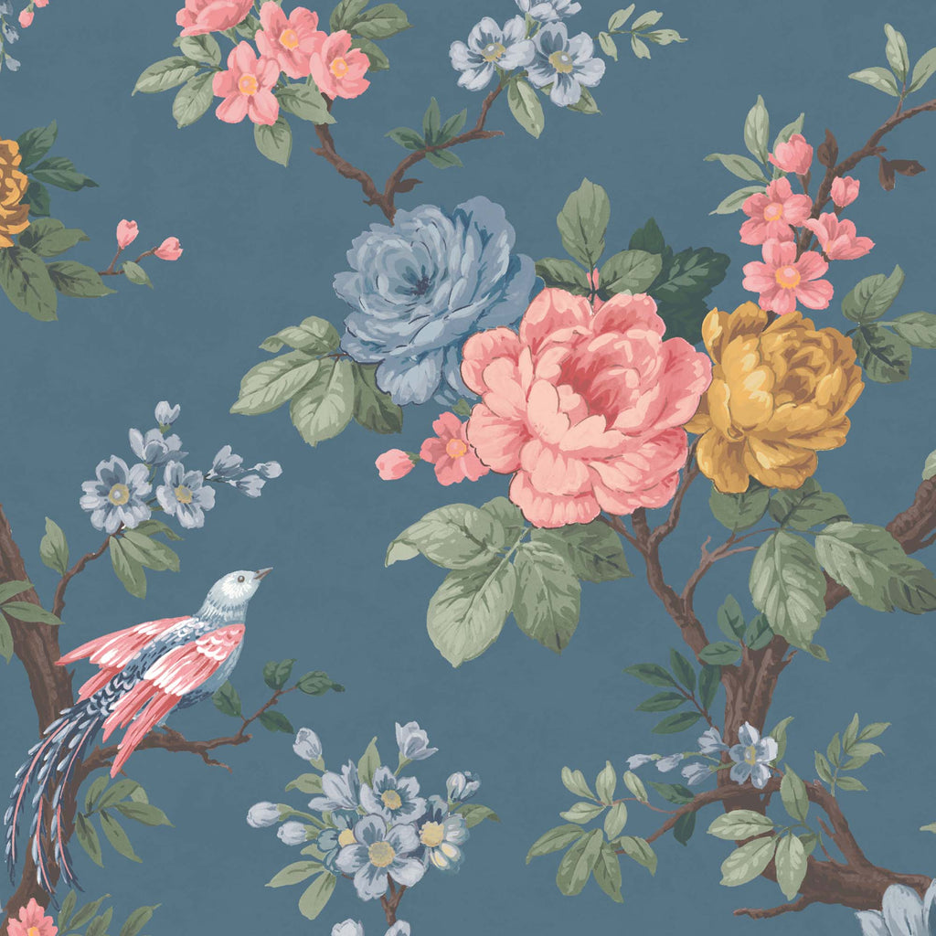 Dawn Chorus in Blue Ink Wallpaper By Woodchip & Magnolia