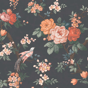 Dawn Chorus in Noir Black Wallpaper By Woodchip & Magnolia