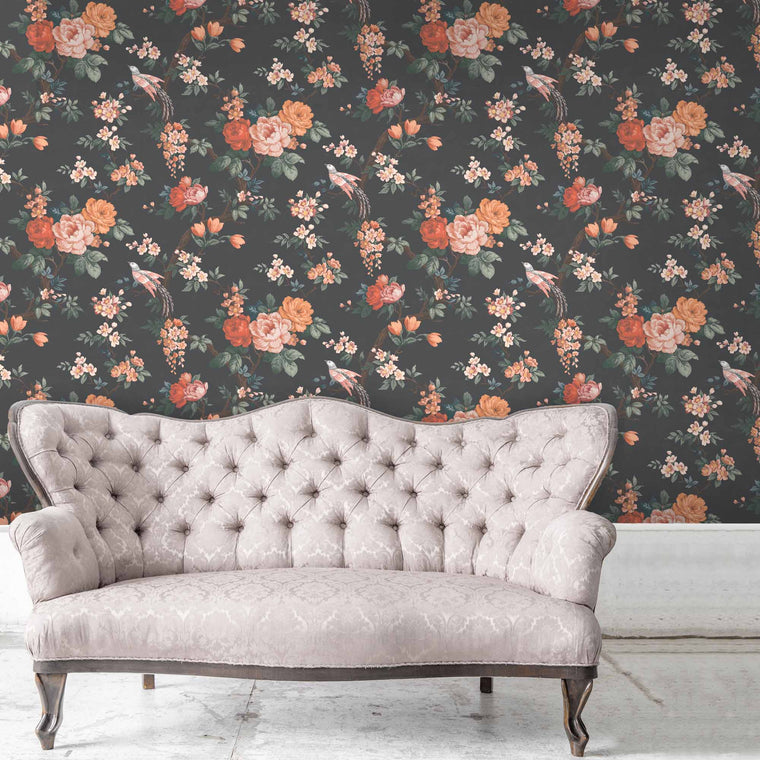 Dawn Chorus in Noir Black Wallpaper