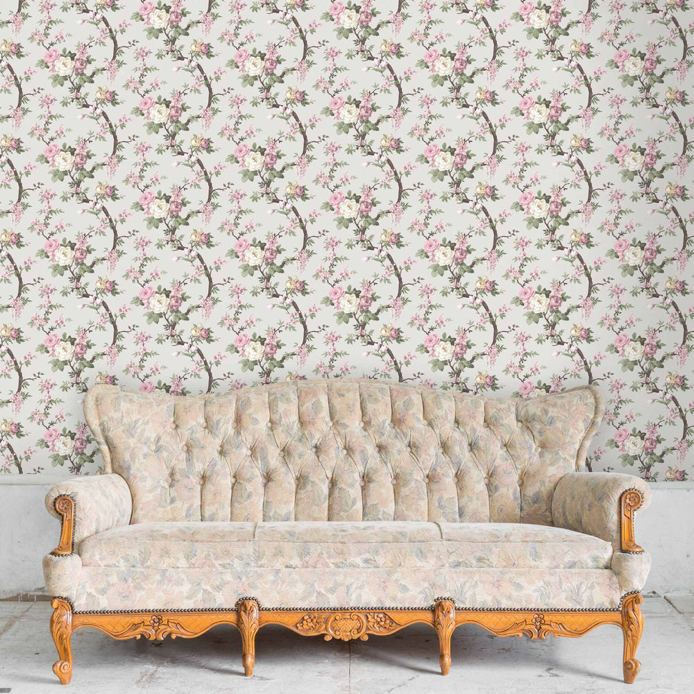 Ditsy Floral in Linen Wallpaper