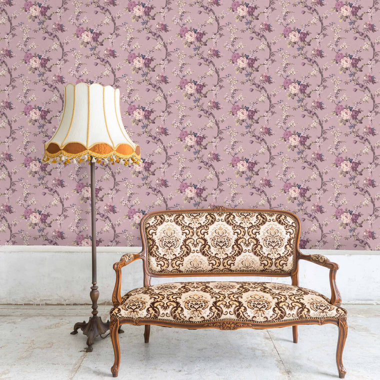Ditsy Floral in Smokey Heather Wallpaper