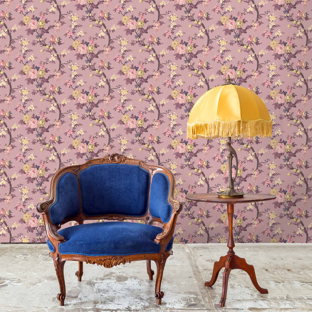 Ditsy Floral in Damson Wallpaper
