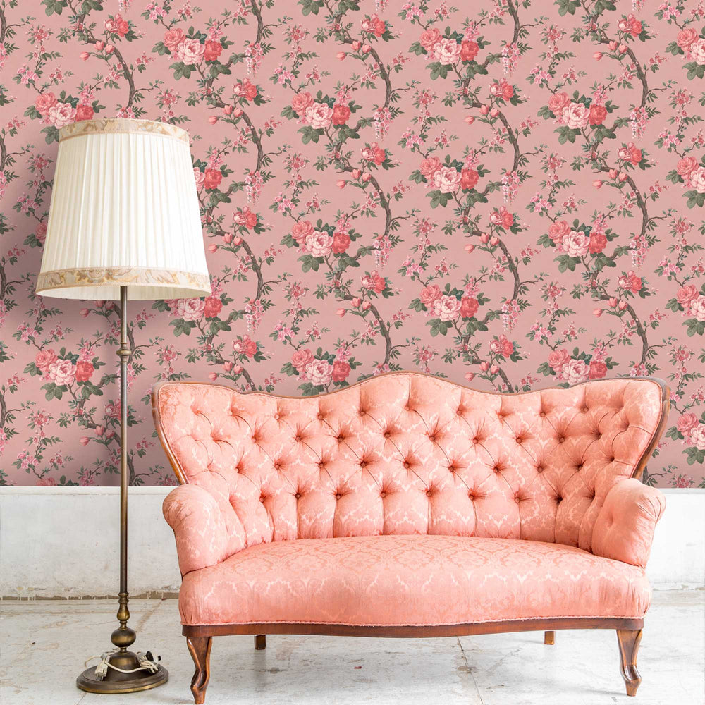 Ditsy Floral in Old Rose Wallpaper