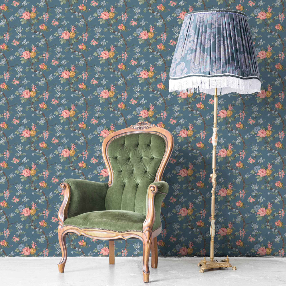 Ditsy Floral in Ink Blue Wallpaper By Woodchip & Magnolia