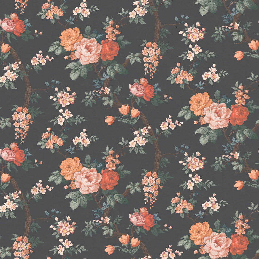 Ditsy Floral in Noir Black Wallpaper By Woodchip & Magnolia