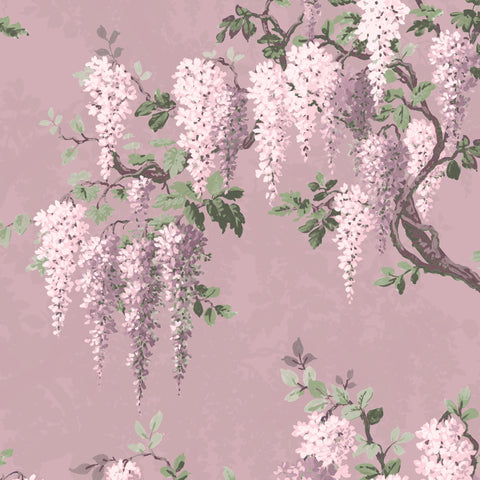 Wisteria in Deep Lavender Floral Wallpaper By Woodchip & Magnolia