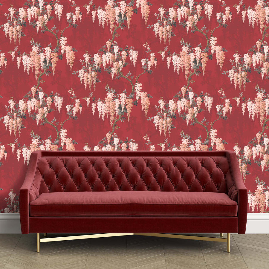 Wisteria Boudoir Berry Red Floral Wallpaper