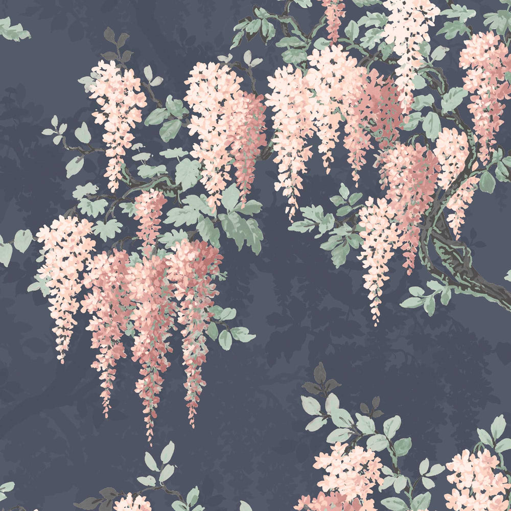 Wisteria in Midnight Mint Floral Wallpaper
