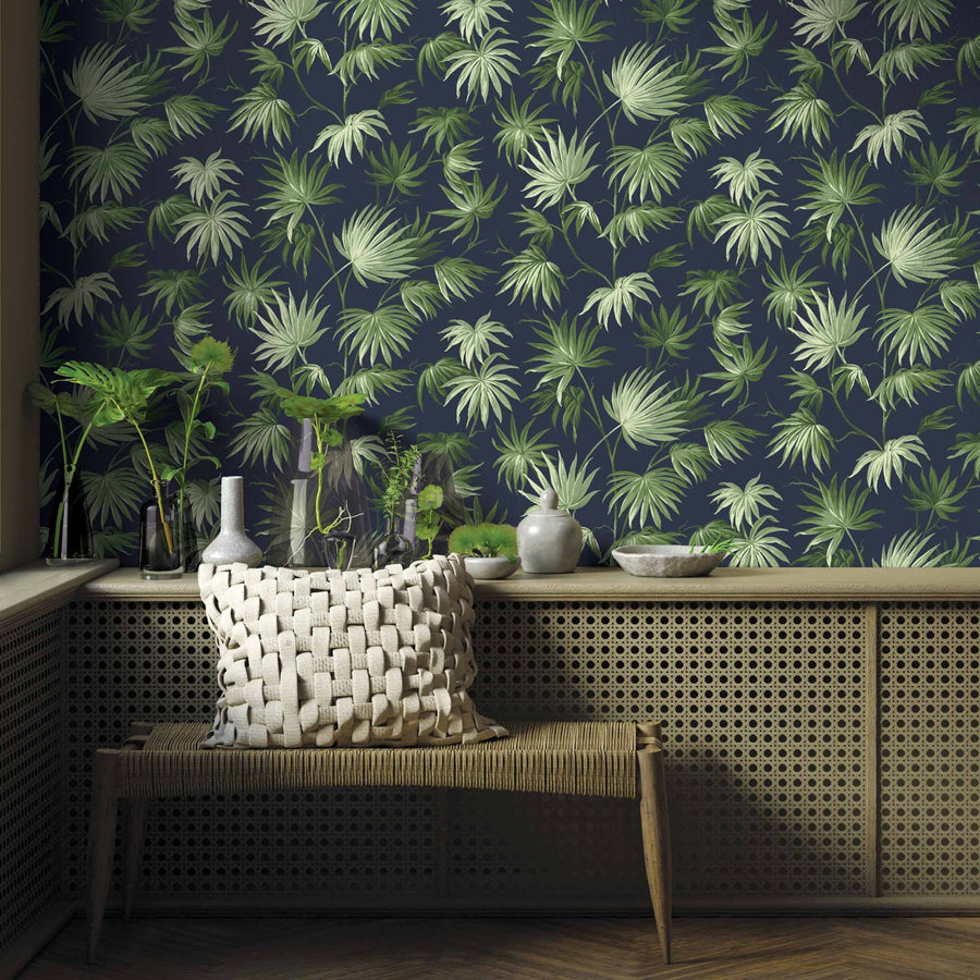 Va Va Frome Noir Green Leaf Botanical Wallpaper By Pearl Lowe