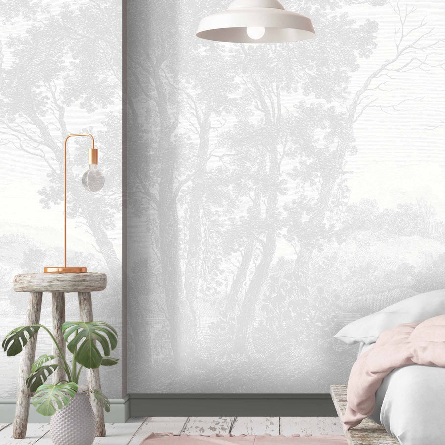 Peaceful Countryside Grey Wall Mural