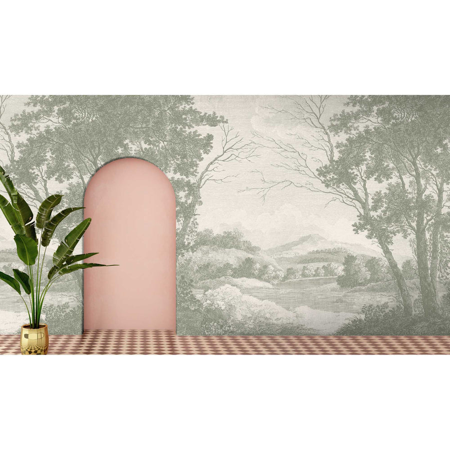 Peaceful Countryside Green Wall Mural