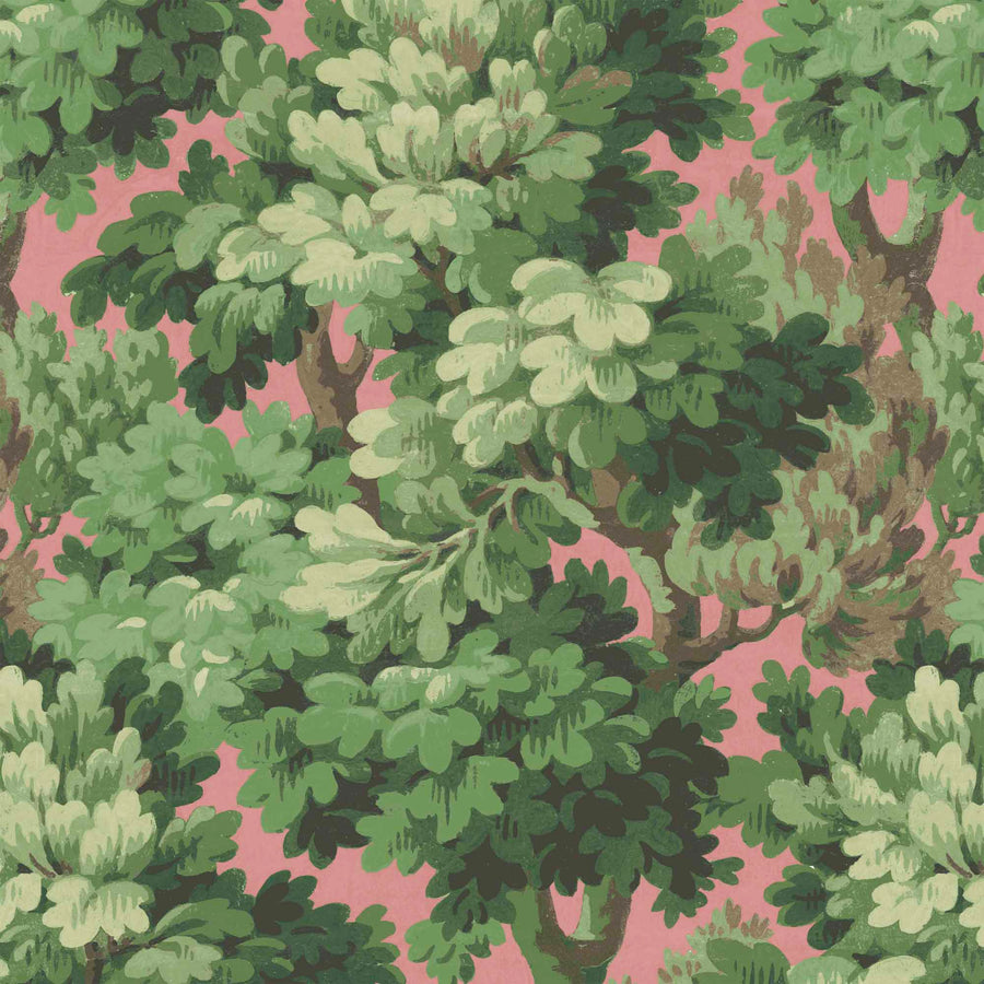 Broadhead Forest Grass Green/Salmon Wallpaper