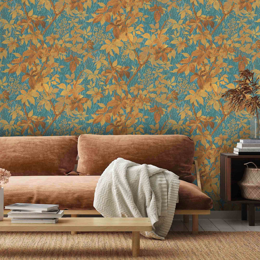Tropic Teal Spice Botanical Wallpaper